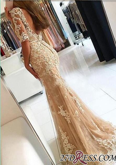 Lace Open-Back Half-Sleeves Mermaid Champagne Prom Dresses BA4982