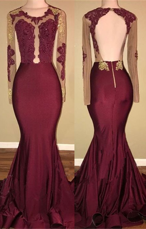 Burgundy Long-Sleeve Prom Dress | 2020 Lace Long Evening Gowns BA8439