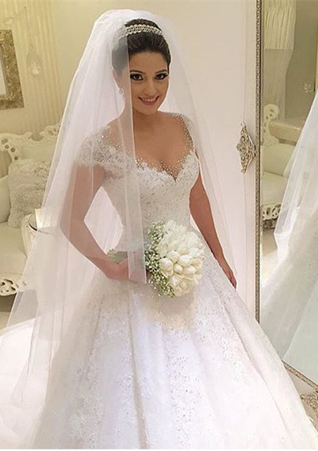 Newest V-neck Tulle Lace Appliques Wedding Dress 2020 Ball Gown Beadings Court Train BA2915