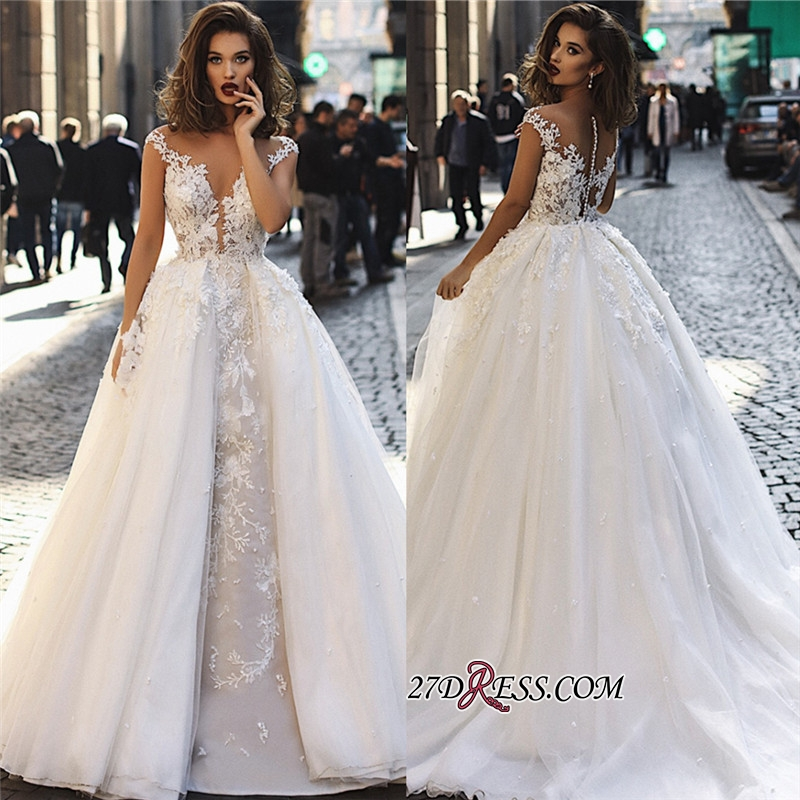 Overskirt Stunning V-Neck Appliques A-Line Lace Long Sleeveless Wedding Dresses BC1129