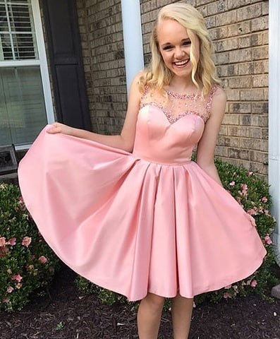Beaded Sweetheart Pink Bateau A-line Excellent Homecoming Dresses