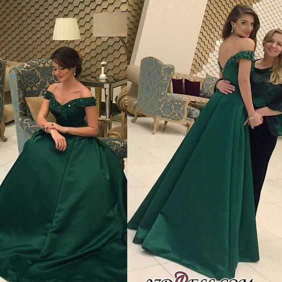 2020 Beaded A-line Formal Dark-Green Off-the-Shoulder Evening Gown BA6508