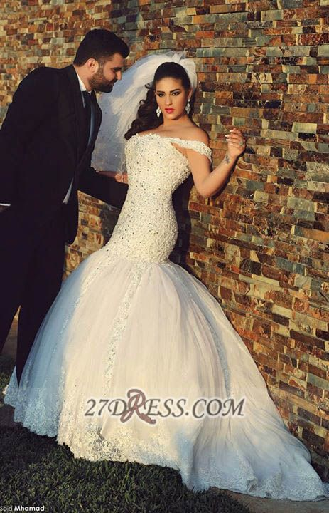 Sexy Off-shoulder Mermaid Tulle Wedding Dress With Beadings Lace
