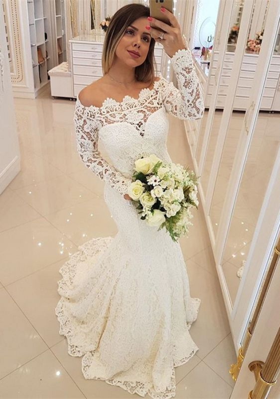 Gorgeous Long Sleeve Lace Wedding Dresses | 2020 Mermaid Long Bridal Gowns
