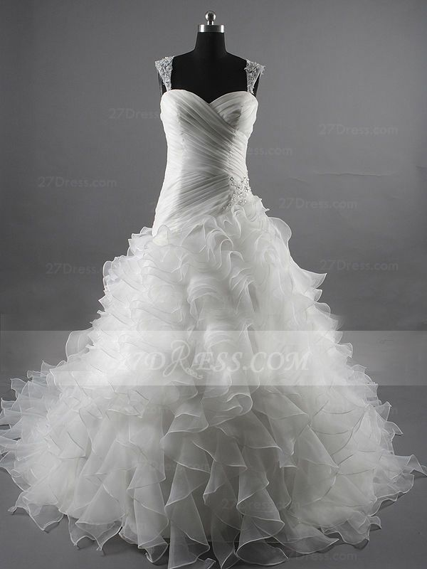 Sequins Straps Ball Gown Bridal Gowns White Organza Wedding 2020 Sleeveless Tiered Lace-up Gowns