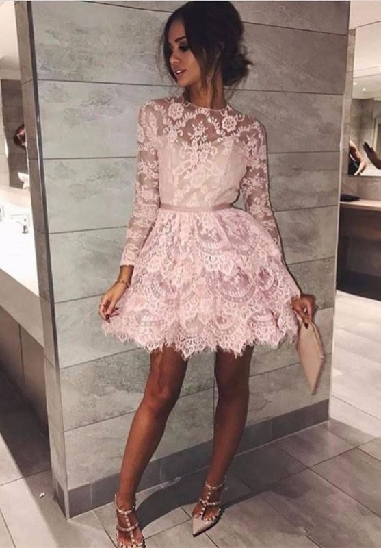 Gorgeous Long Sleeve Lace Homecoming Dress | 2020 Short Party Gown BC1911