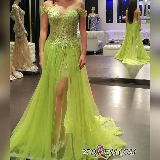 2020 Lace Off-the-Shoulder Popular Tulle A-line Prom Dress