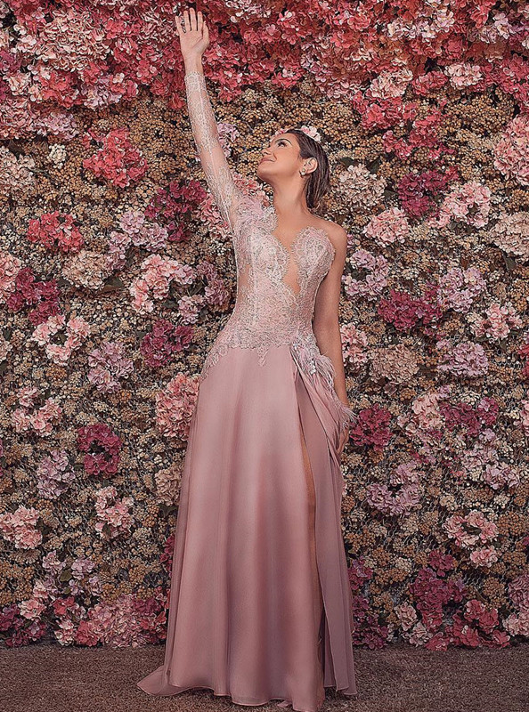 Luxurious One-shoulder Mermaid Floor-Length Evening Dress   Feather Front Split Lace Prom Gown On Sale