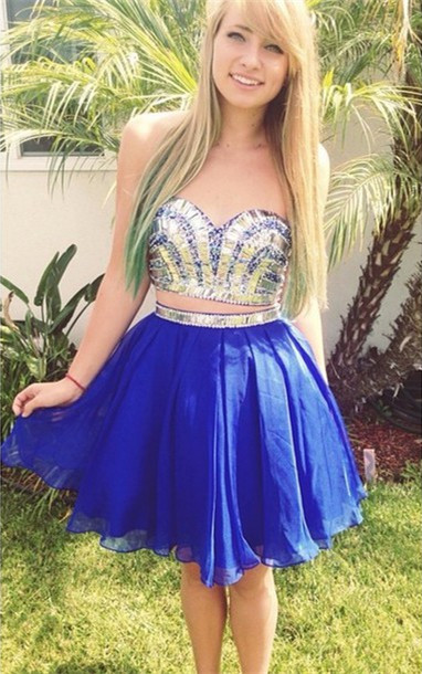 Modern Two Piece Crystals Short Homecoming Dress 2020 Sweetheart