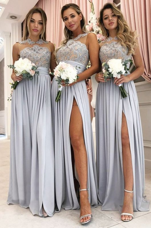 Glamorous A Line Sleeveless 2020 Bridesmaid Dresses | Front Split Lace Appliques Maid Of Hornor Dress BC1242