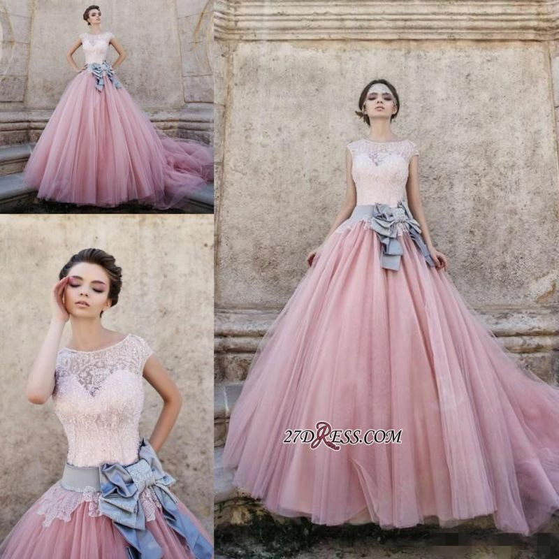 Ball-Gown Lace Bowknot Pink Capped-Sleeves Wedding Dress