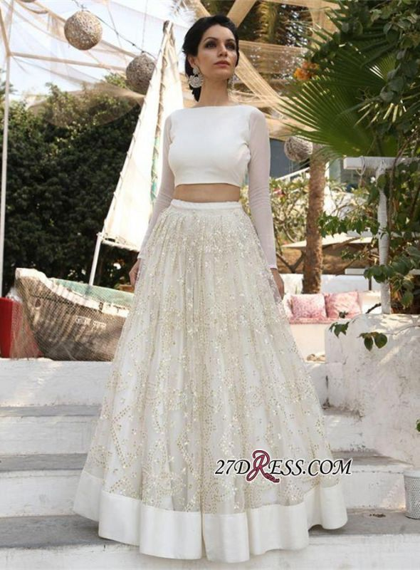 2020 A-line Newest Sequined Two-Piece Long-Sleeve Evening Dress