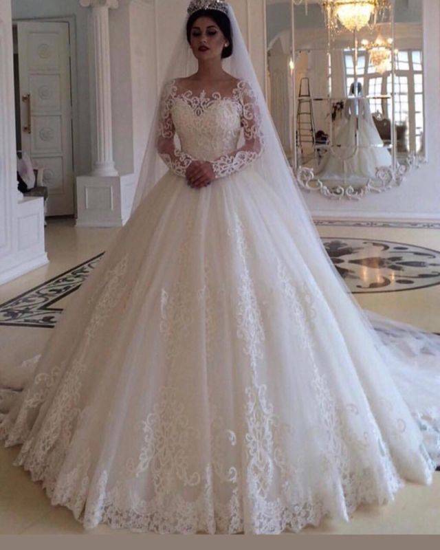 Glamorous Bateau Long Sleeves Wedding Dress | Lace Princess Bridal Gowns Online