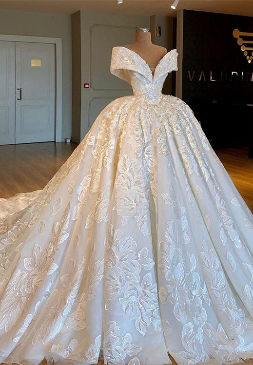 Glamorous Off-the-Shoulder Lace Wedding Dresses | 2020 Princess Bridal Gowns