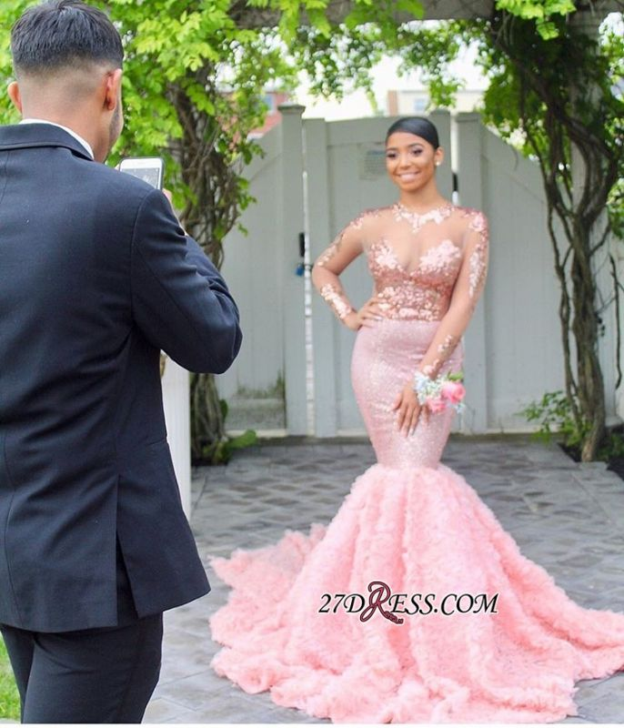 Pink Floral Mermaid Long-Sleeves Sequins Sexy Prom Dresses BC1052 bk0