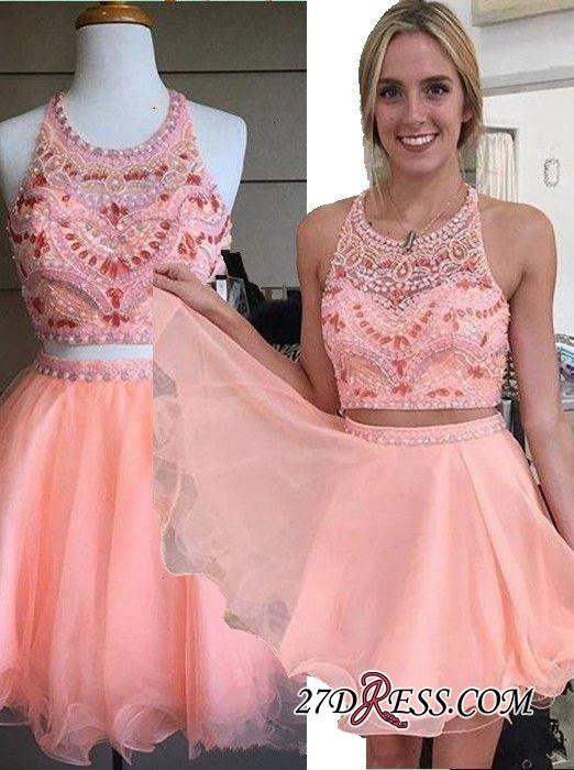 Beading Coral Two-Piece Crystals Mini Lovely Halter Organza Homecoming Dress