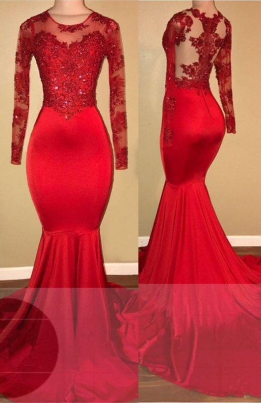 Red lace mermaid prom dress, long sleeve evening gowns RM0