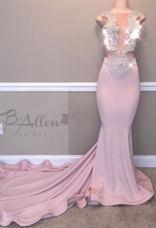 Glamorous Pink Evening Gown   2020 Beadings Mermaid Long Prom Dresses
