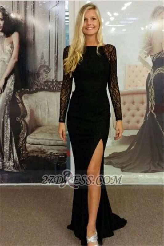 Sexy Scoop Long Sleeve Front Split Lace Evening Dress With Open Back And Beadings