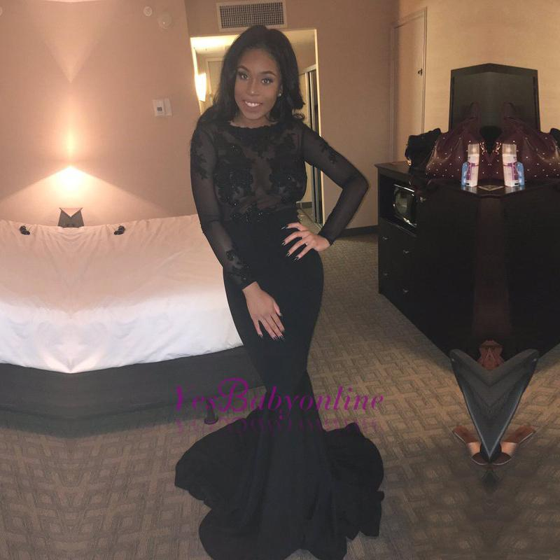Black Mermaid Sexy Lace Backless Long-Sleeves Sheer Evening Gown BK0