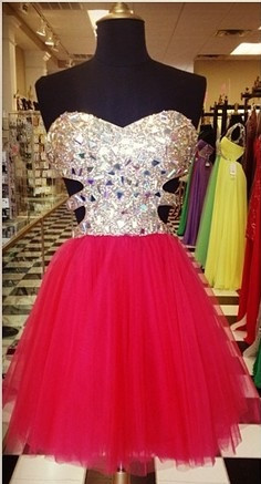 Glamorous Sweetheart Sleeveless Tulle Short Cocktail Dress With Crystals CJ0375