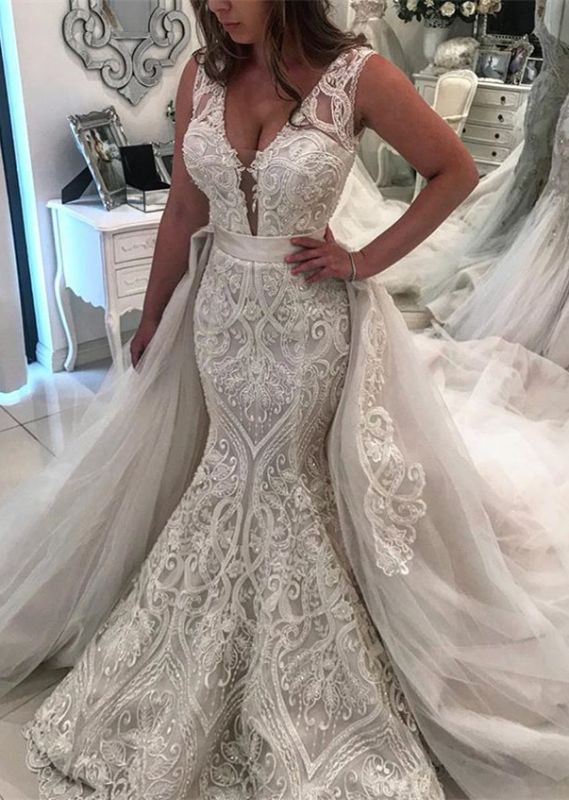 Gorgeous Sleeveless Lace Wedding Dresses | 2020 Overskirt Mermaid Bridal Gowns BC1994