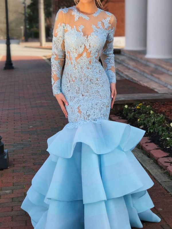Gorgeous Long Sleeve Lace Evening Gown | 2020 Mermaid Ruffles Lace Prom Dress