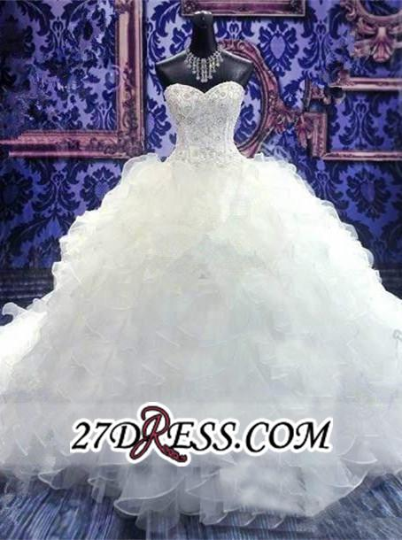 Ball-Gown White Long-Train Beading Lace-up Sweetheart Ruffles Gorgeous Wedding Dress