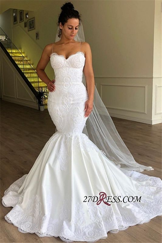 Spaghetti-Strap Lace Mermaid Wedding Dresses | Modest Sleeveless Bridal Gowns