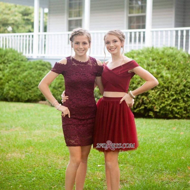 Lace Fascinating Two-Pieces Jewel Short Off-the-shoulder Homecoming Dresses