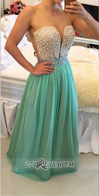 Sexy Illusion Sleeveless Long Evening Dress Pearls Appliques Chiffon Prom Gown BT0