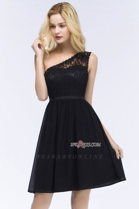 Homecoming Dresses Chiffon Top Short A-line Lace One-shoulder with Sash