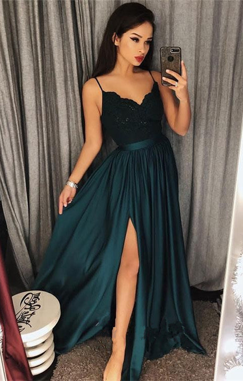 Dark-Green Spaghetti-Straps 2020 Prom Dress | Lace Evening Gowns With Slit