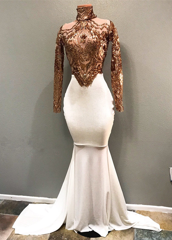 2020 Luxurious High Neck Long Sleeves Mermaid Prom Gown | Appliques Beadings Evening Dress On Sale