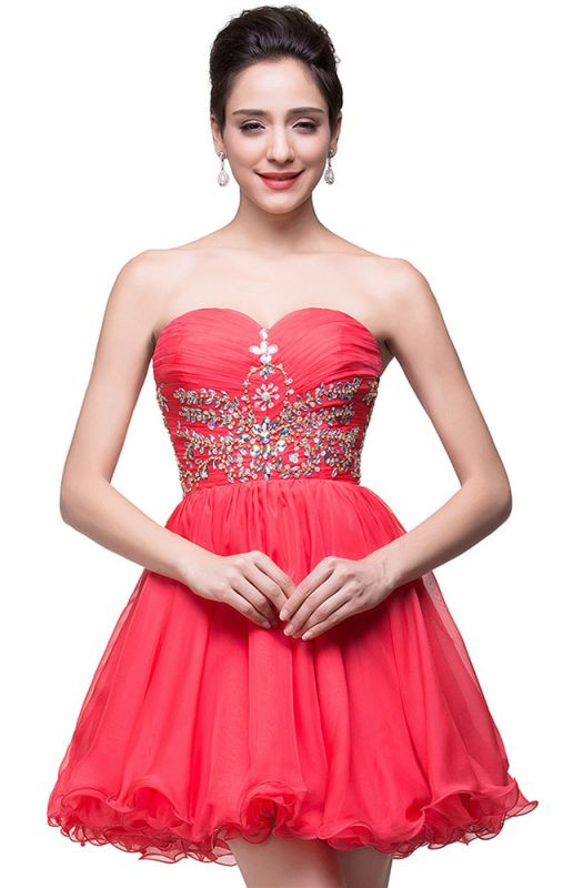 Lovely Watermelon Sweetheart Homeocming Dress 2020 Short With Crystals