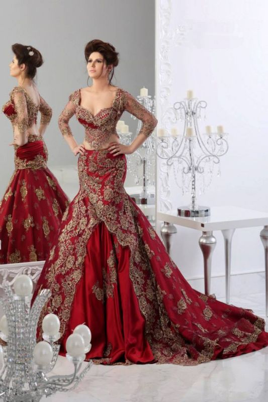 new Sexy Lace Mermaid Prom Dresses Arabic Sheer Long Sleeves Floor Length Red Party Dress with Appliques Tulle