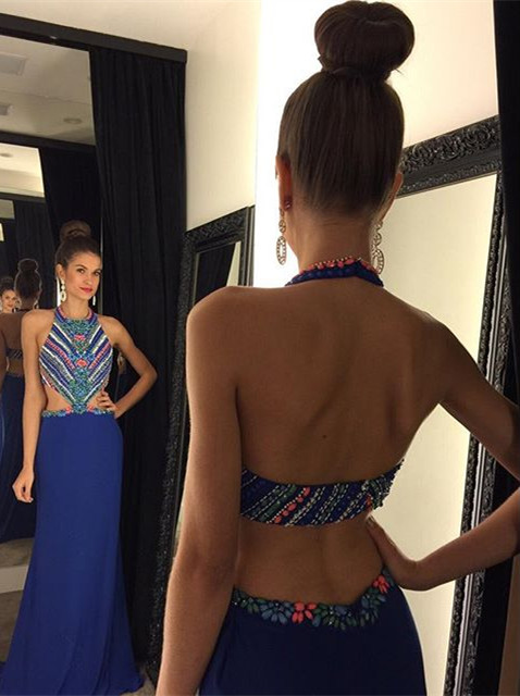 Sexy Halter Colorful Crystals Evening Dress 2020 Sweep Train Sleeveless