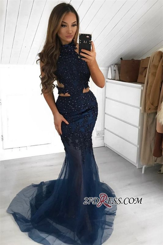 Gorgeous Halter Sleeveless Evening Gown | 2020 Sheer-Tulle Mermaid Prom Dress BC2377