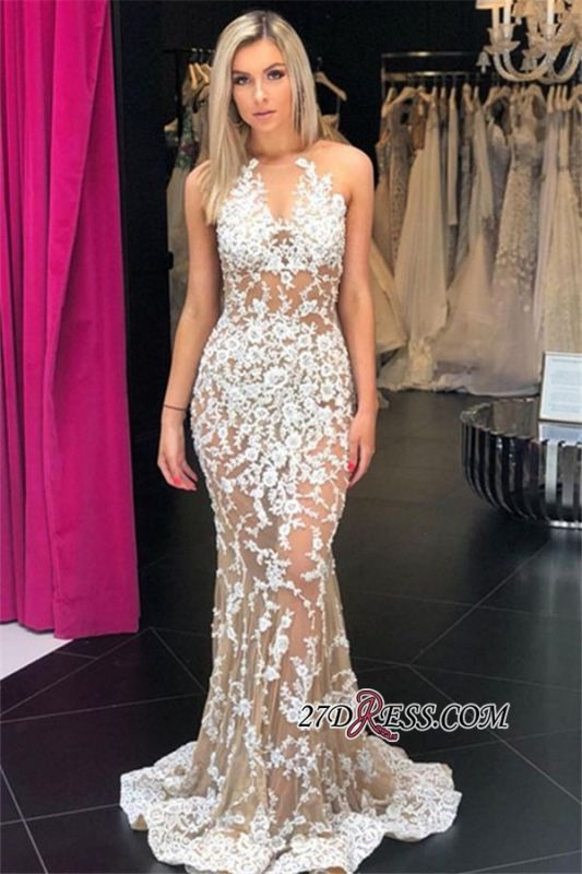 Crew Mermaid Sexy Appliques Sleeveless Prom Gowns
