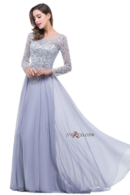 2020 Appliques Long-Sleeves Newest Beadings A-Line Prom Dress