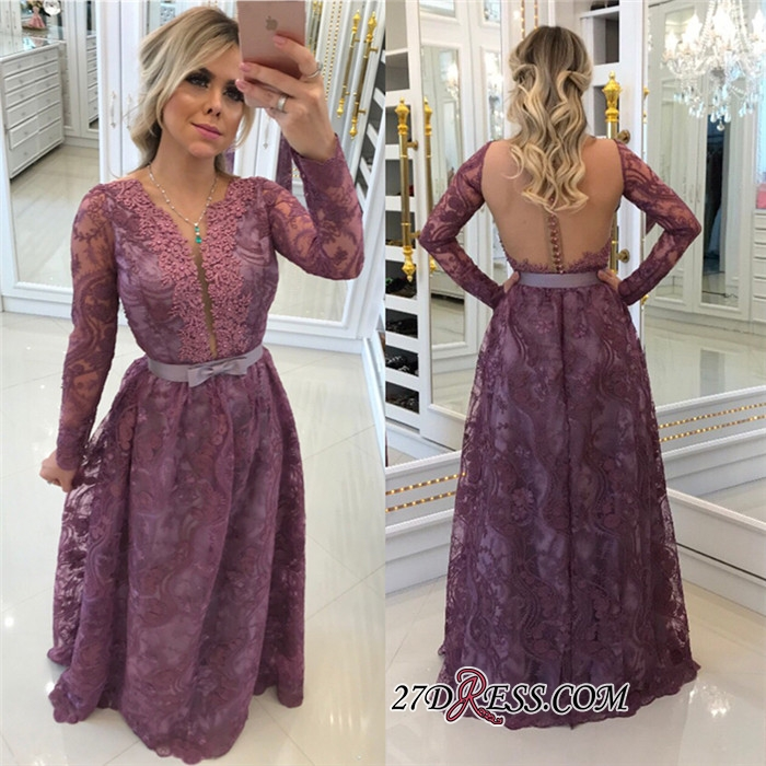 Glamorous Long-Sleeves Lace Buttons A-Line Evening Dresses