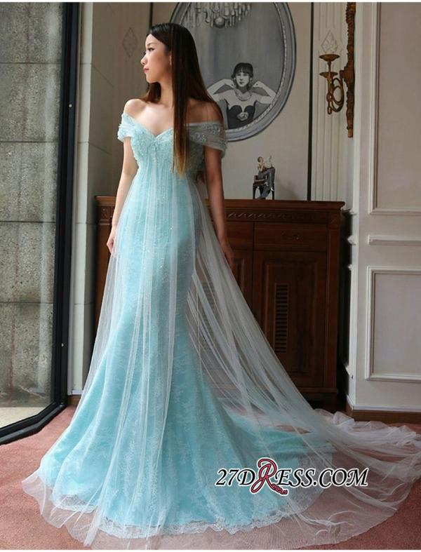 Stunning Off-the-shoulder Lace Mermaid Tulle Evening Dress