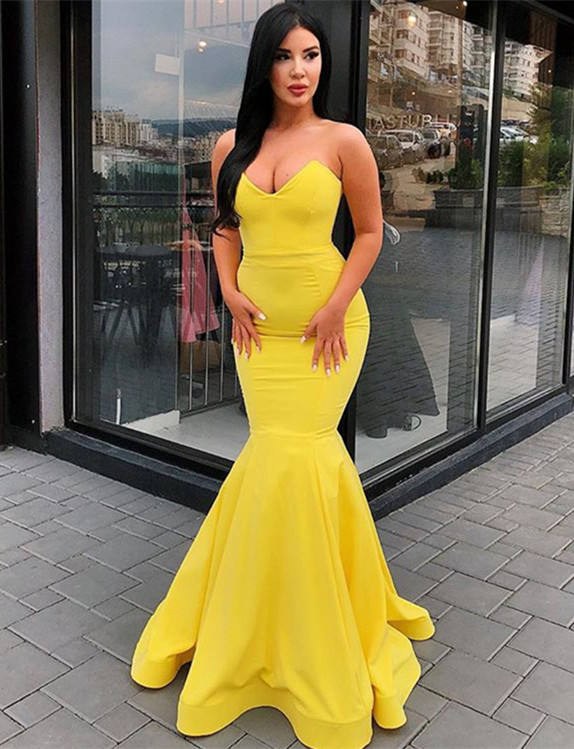 Elegant Sweetheart Yellow Prom Dresses | 2020 Mermaid Long Evening Gowns Bc0697