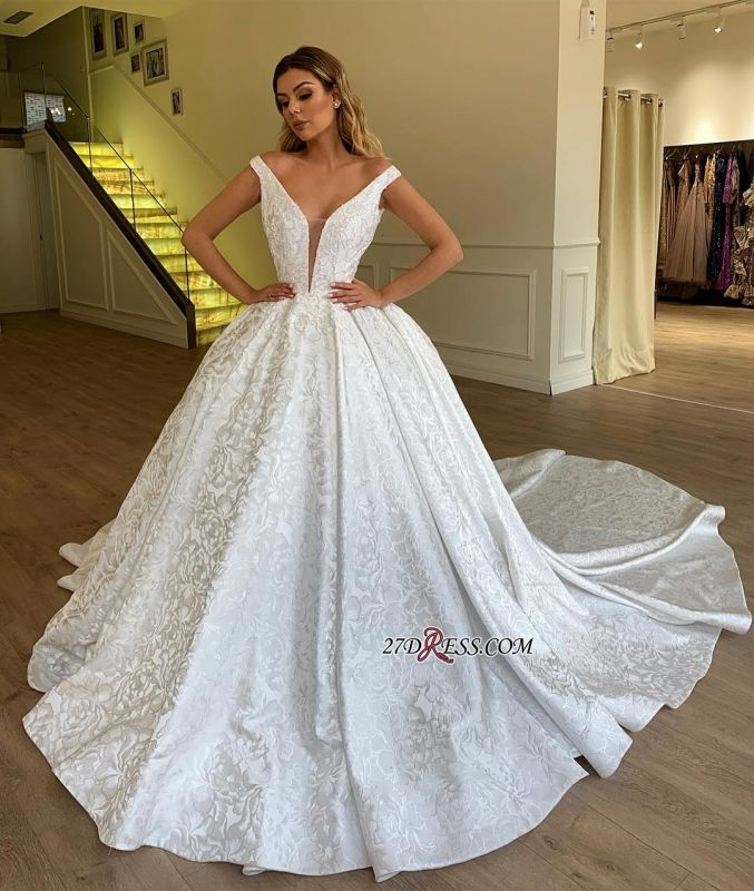 Ball Gown Off-the-Shoulder Bridal Gown | Sexy Strapless Appliques Wedding Dresses