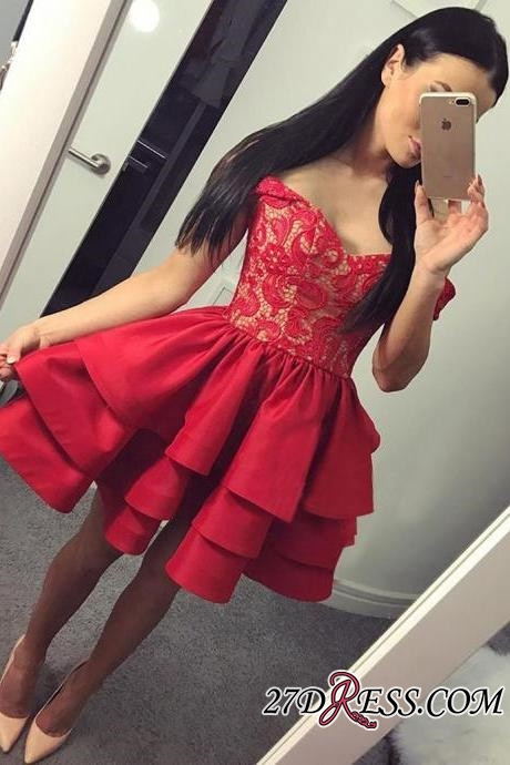 Lace Short Ruffles Off-the-shoulder Modest Red Homecoming Dress