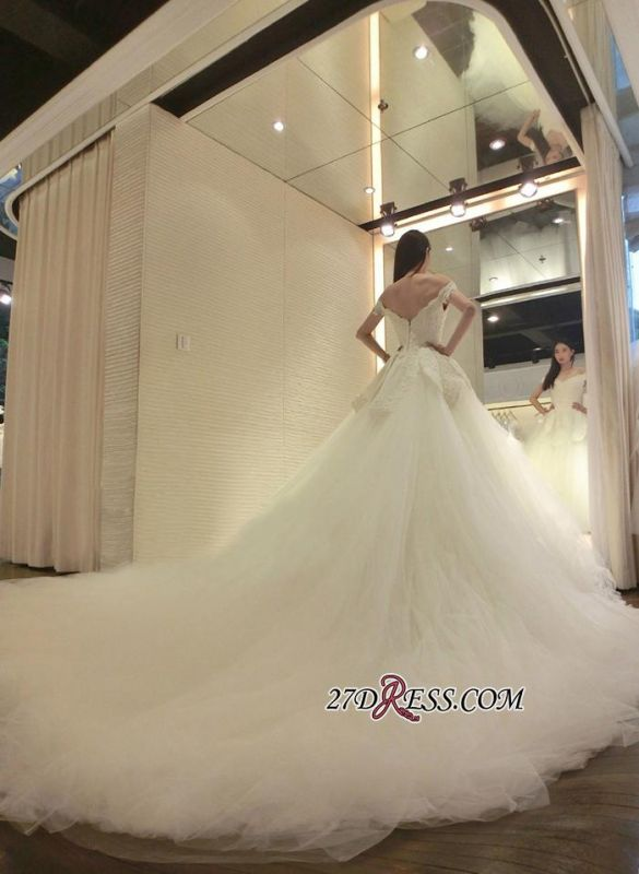 2020 Tulle Beads Newest Lace-Appliques Off-the-shoulder Long-Train Wedding Dress