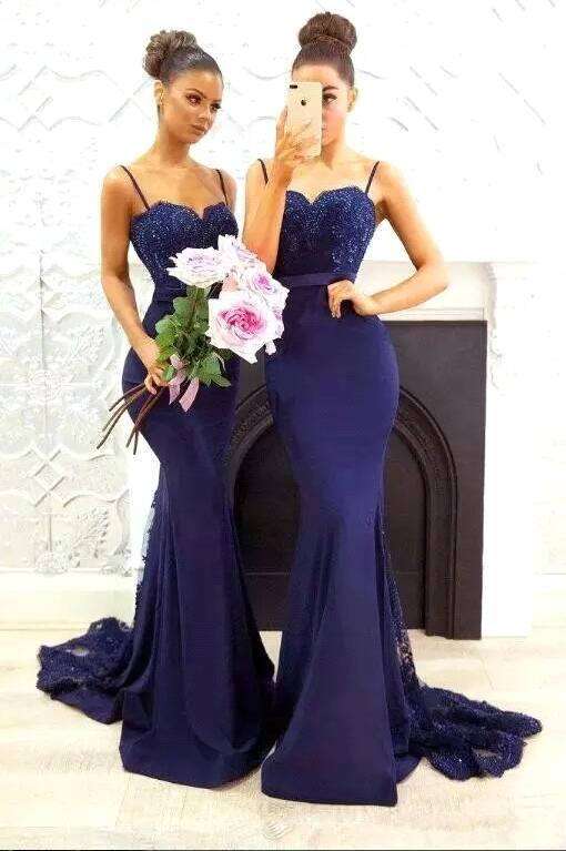 Gorgeous Spaghetti Strap Navy Lace Mermaid Bridesmaid Dress on Sale