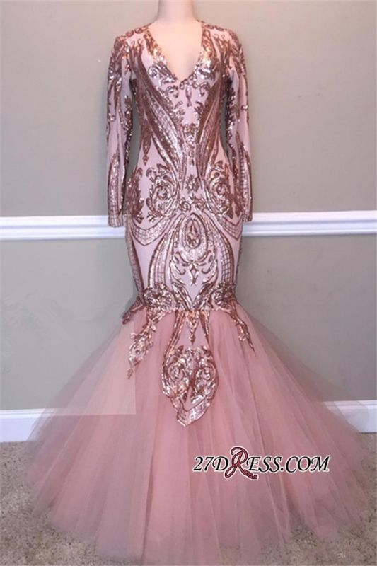 Gorgeous Long Sleeve V-Neck Sequins Prom Dress | 2020 Mermaid Tulle Evening Gowns