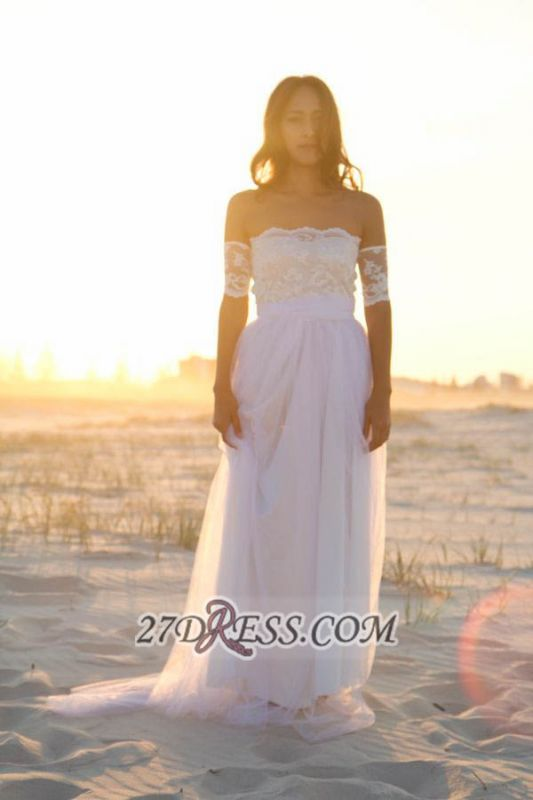 Elegant Off-the-shoulder Tulle Long Beach Wedding Dress With Lace Appliques
