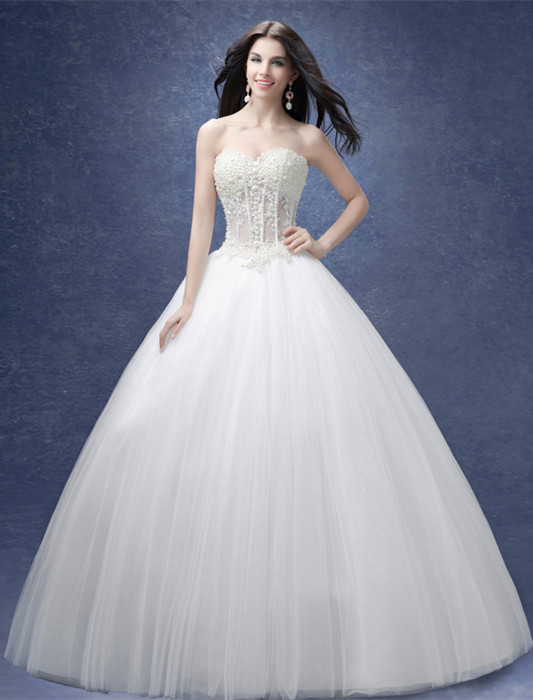 Glamorous Sweetheart Pearls Wedding Dresses 2020 Ball Gown Tulle Bridal Gown